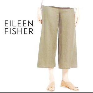 Eileen Fisher Linen Blend Wide Leg Cropped Pants M